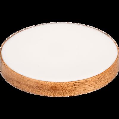 Set de 4 sous-verres en manguier et résine blanche-APHELIE