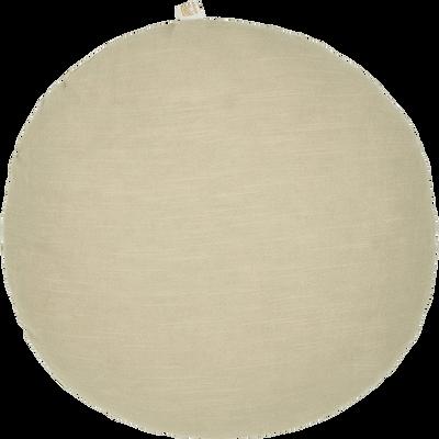 Coussin rond en ramie beige roucas D40cm-RAMY