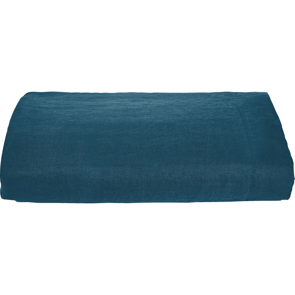 drap plat en lin bleu figuerolles 270x300 cm vence 270x300 cm catalogue storefront alin a. Black Bedroom Furniture Sets. Home Design Ideas