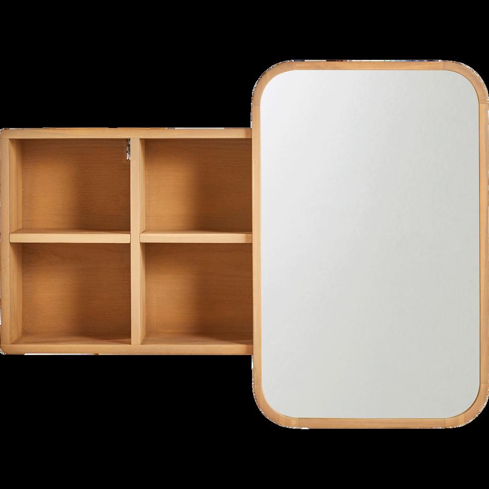 Miroir rangeant coulissant en chêne L100cm - HORTENSE - miroirs de ...