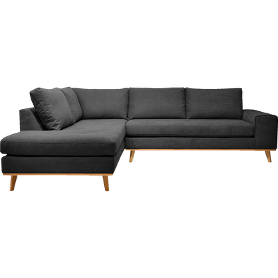 Canapé d'angle fixe gauche en tissu anthracite-PICABIA