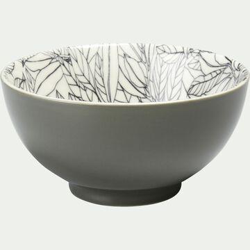 Coupelle en porcelaine motifs laurier - vert cèdre D11,5cm-AIX