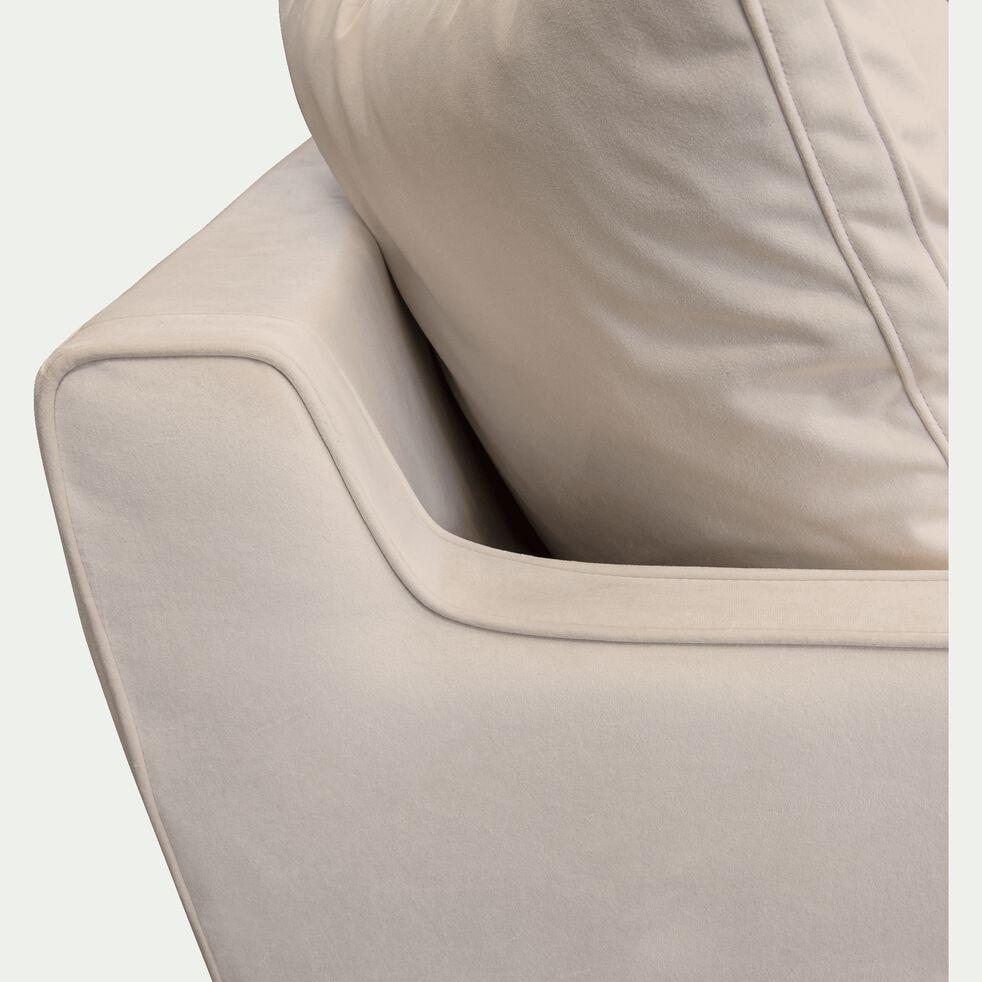 Canapé 1,5 place fixe en velours - beige roucas-LENITA