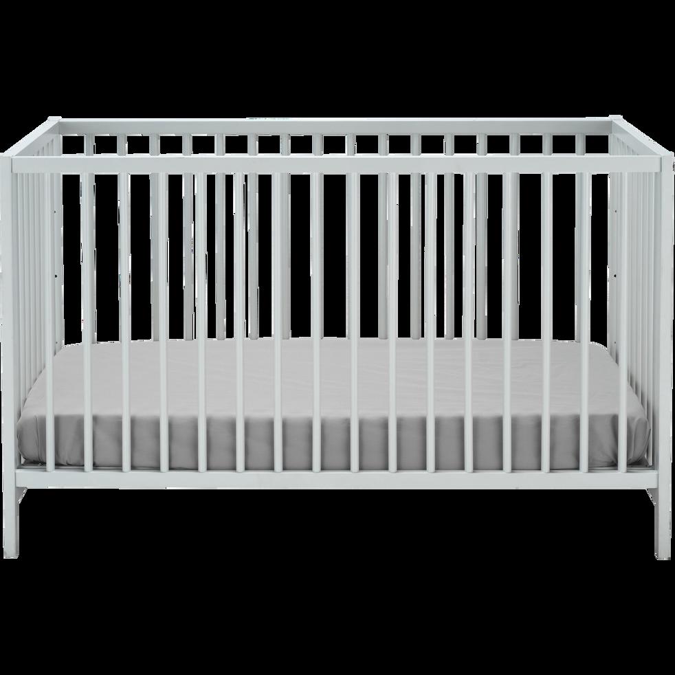 Lit bébé en hêtre massif Gris borie - 120x60 cm-CAMILLE