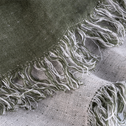 Plaid écharpe en lin vert cèdre 43x185cm-JUSTIN