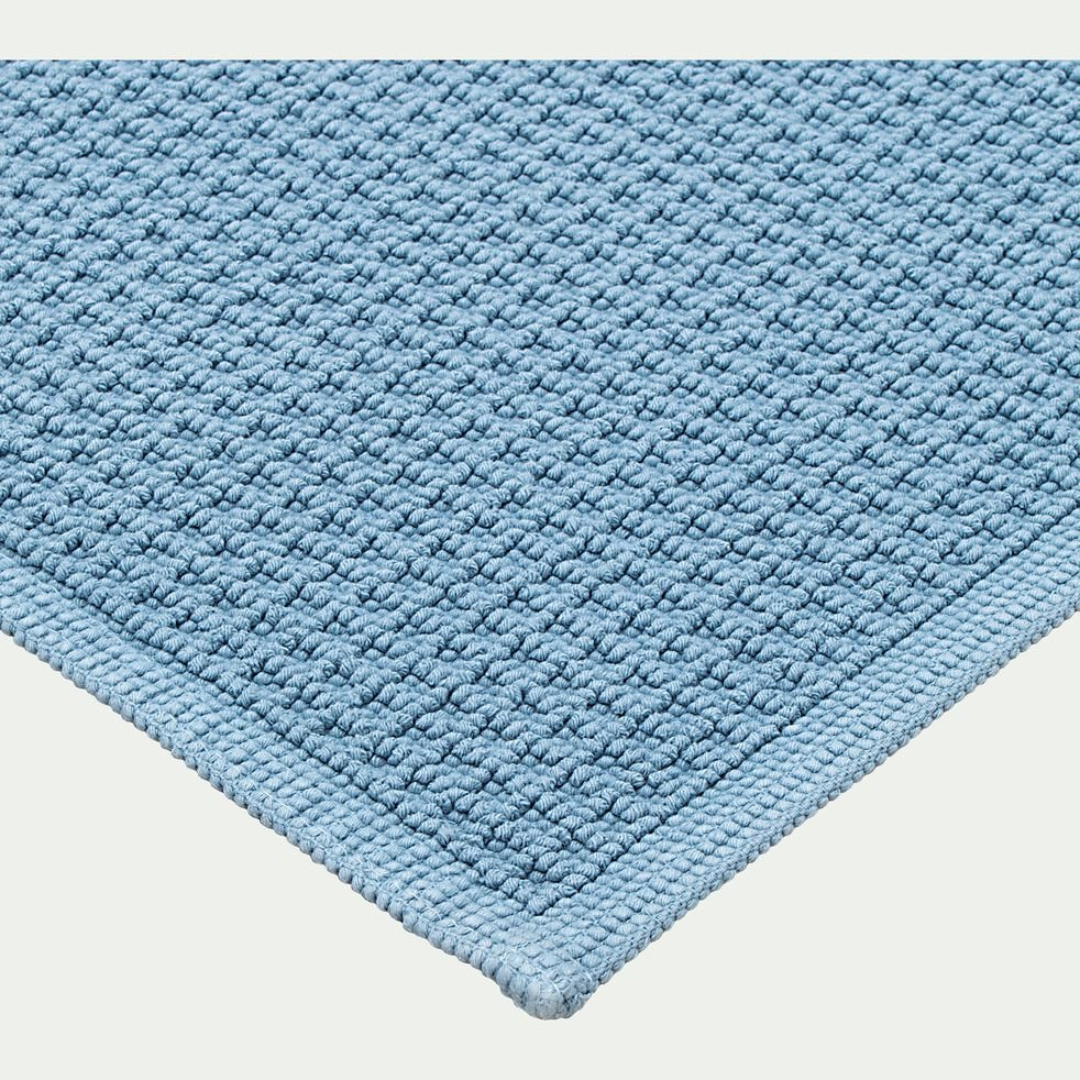 Tapis de bain en coton jacquard - l60xL100cm bleu autan-Escapade