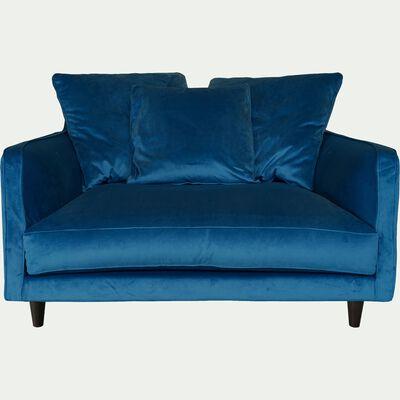 Canapé 1,5 places fixe en velours - bleu figuerolles-LENITA