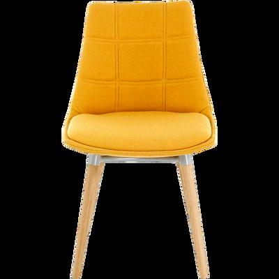 Chaise jaune moutarde avec piètement chêne-JOY