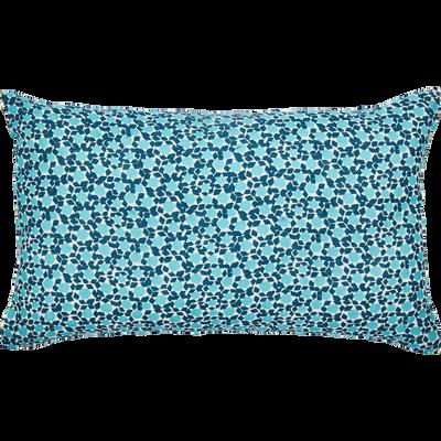 Coussin en lin imprimé bleu 30x50cm-ZELLIGES