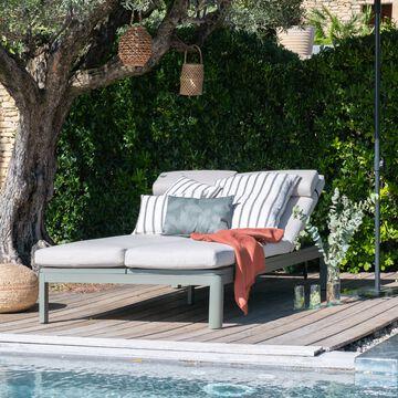 Double bain de soleil modulable avec matelas - vert cèdre-ALEP