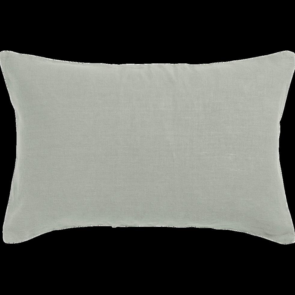Coussin en lin lavé vert olivier 40x60cm-VENCE