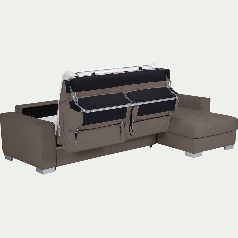 Canapé d'angle réversible convertible en cuir de buffle - taupe-Mauro