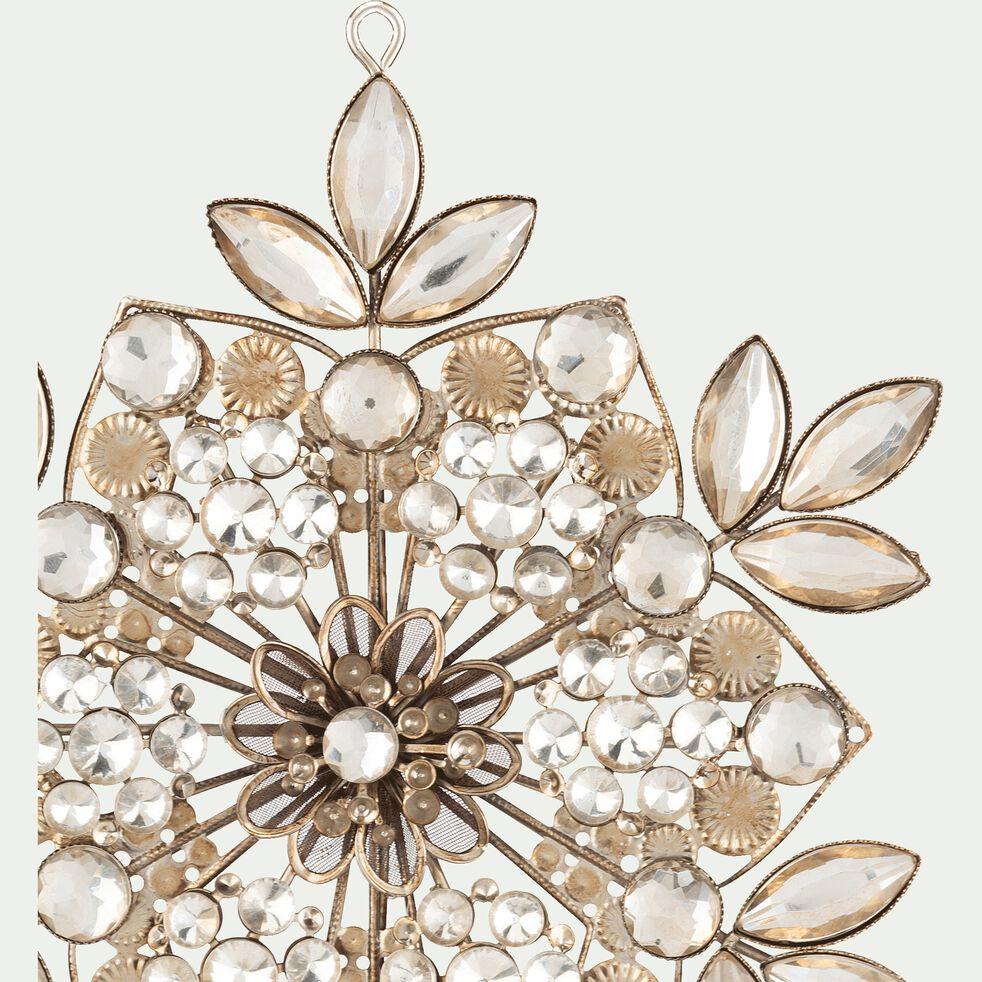 Boule de Noël flocon à strass en métal - doré D14cm-BEAUCAIRE
