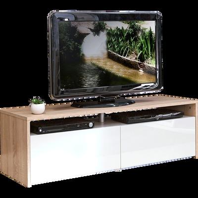Meuble TV coloris blanc et chêne 2 tiroirs-LONGO