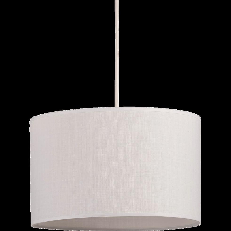 suspension cylindrique en tissu blanc d60cm mistral. Black Bedroom Furniture Sets. Home Design Ideas