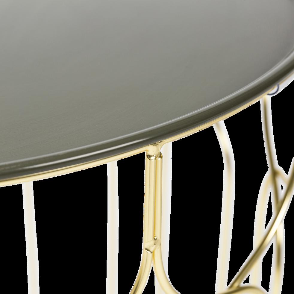 Bout de canapé en acier filaire avec plateau vert cèdre-PAIO