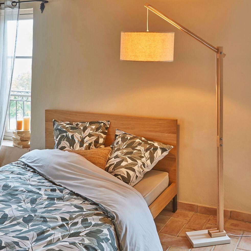 Lampadaire en bois et coton H180cm-PETRUS