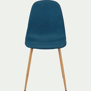 Chaise en acier impression bois et tissu - bleu figuerolles-LOANA