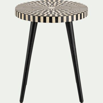 Bout de canapé rond en résine et bois de sheesham motif fantello-LANTON