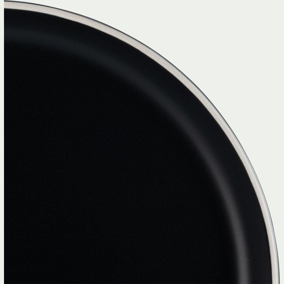 Assiette à dessert en faïence D22cm - noir-NIERO
