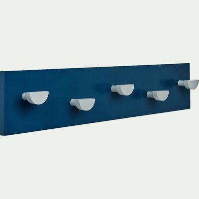Patère en bois avec 5 points d'accroche - bleu figuerolles-Panjadou