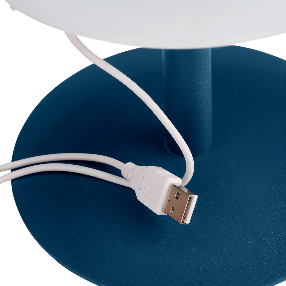Lampe de table nomade avec pied en métal bleu H26cm-MUGEL
