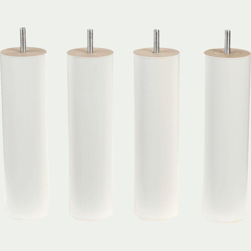 Pieds de sommier blancs H20 cm - jeu de 4-Cylindre