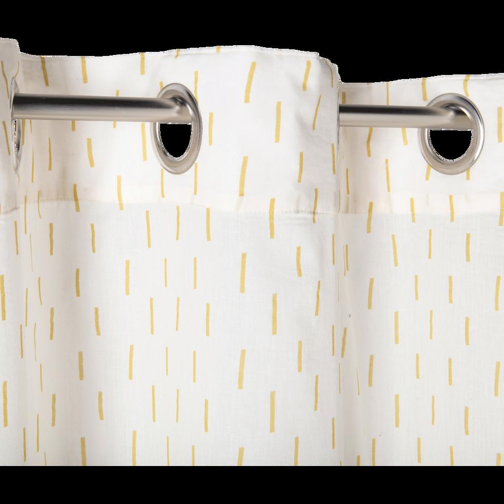 Voilage à œillets écru à motifs jaunes 135x250cm-OCRES
