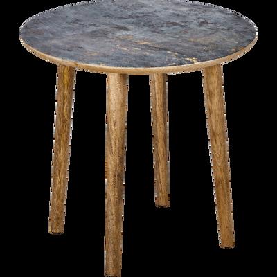 Bout de canapé en manguier avec plateau effet marbre-BARRO