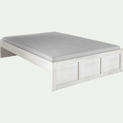 Lit en pin brossé Blanc - 140x200 cm-JALOUSIE