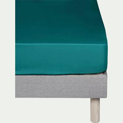 Drap housse en coton - bleu niolon 160x200cm B25cm-CALANQUES