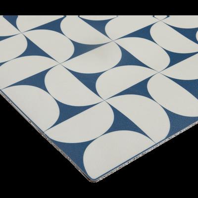 Tapis de couloir en vinyle bleu et blanc 60x200cm-RIOU