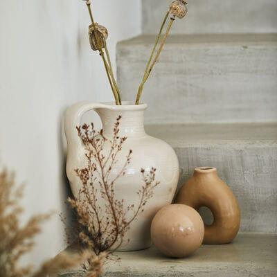 Boule déco en céramique - beige D9,5cm-AGIDA