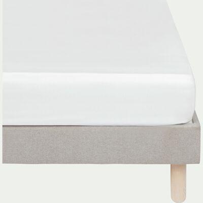Drap housse rayé en satin de coton - blanc capelan 160x200cm B25cm-SANTIS