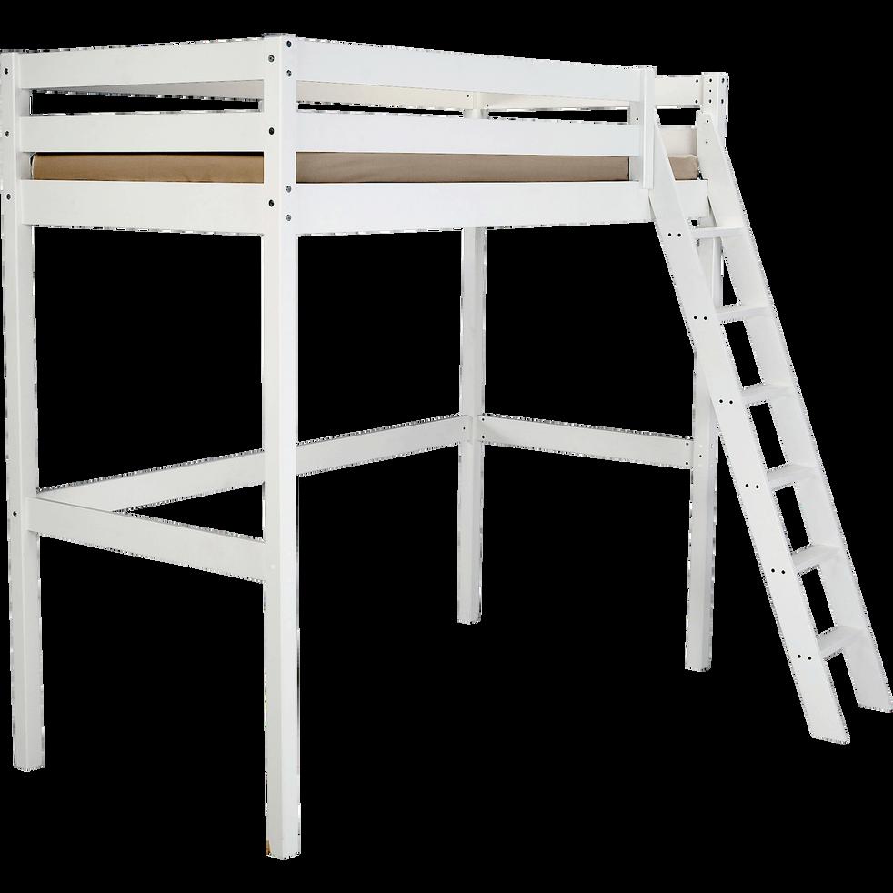 lit mezzanine 1 place blanc avec sommier 90x200 cm alpin 90x200 cm lits enfants 1 place. Black Bedroom Furniture Sets. Home Design Ideas