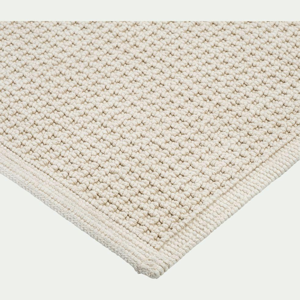 Tapis de bain tissé plat en coton - beige roucas 50x70cm-ESCAPADE