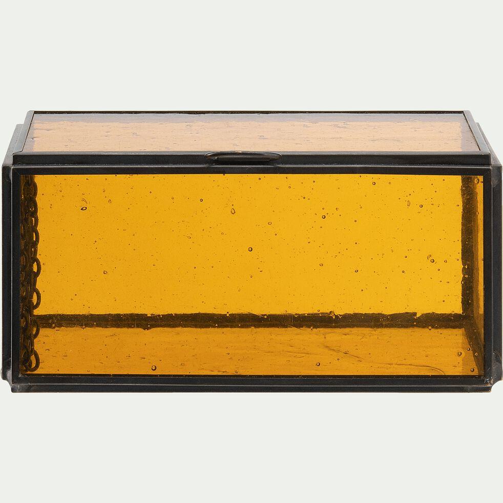 Boîte en métal et verre orange 7,5x15x7,5cm-ATHENA