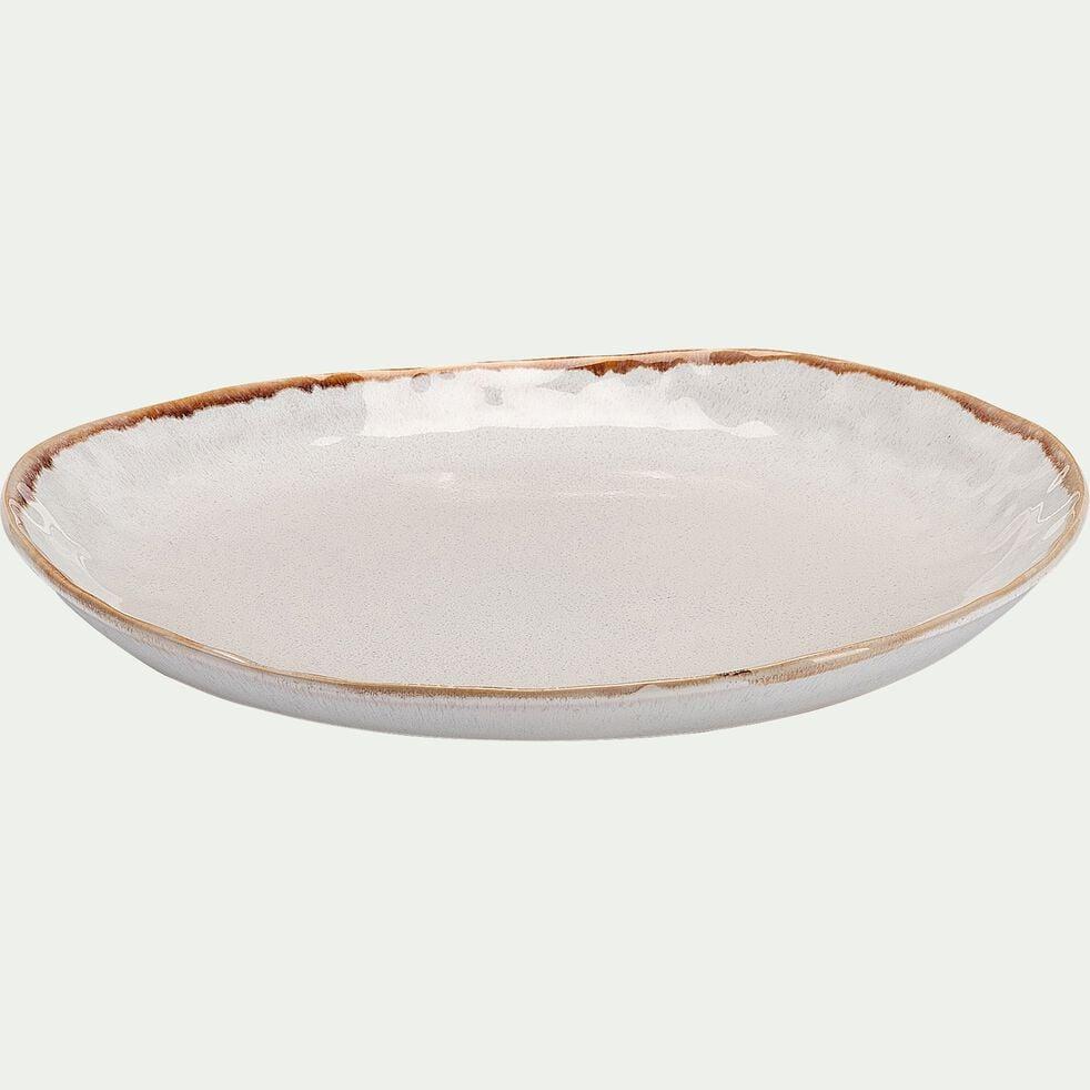 Assiette plate en grès D28cm - blanc-AUCEL