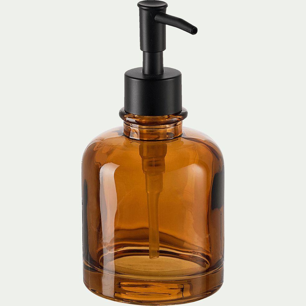Distributeur de savon en verre - marron H17cm-OSCO