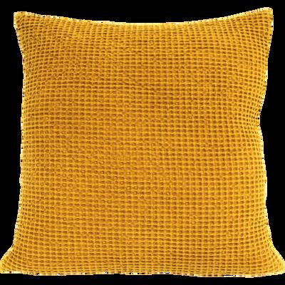 Coussin en coton curry effet nid d'abeille 45x45cm-HONEY