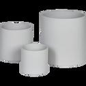 Cache-pot gris clair mat en céramique H14xD17cm-ERA