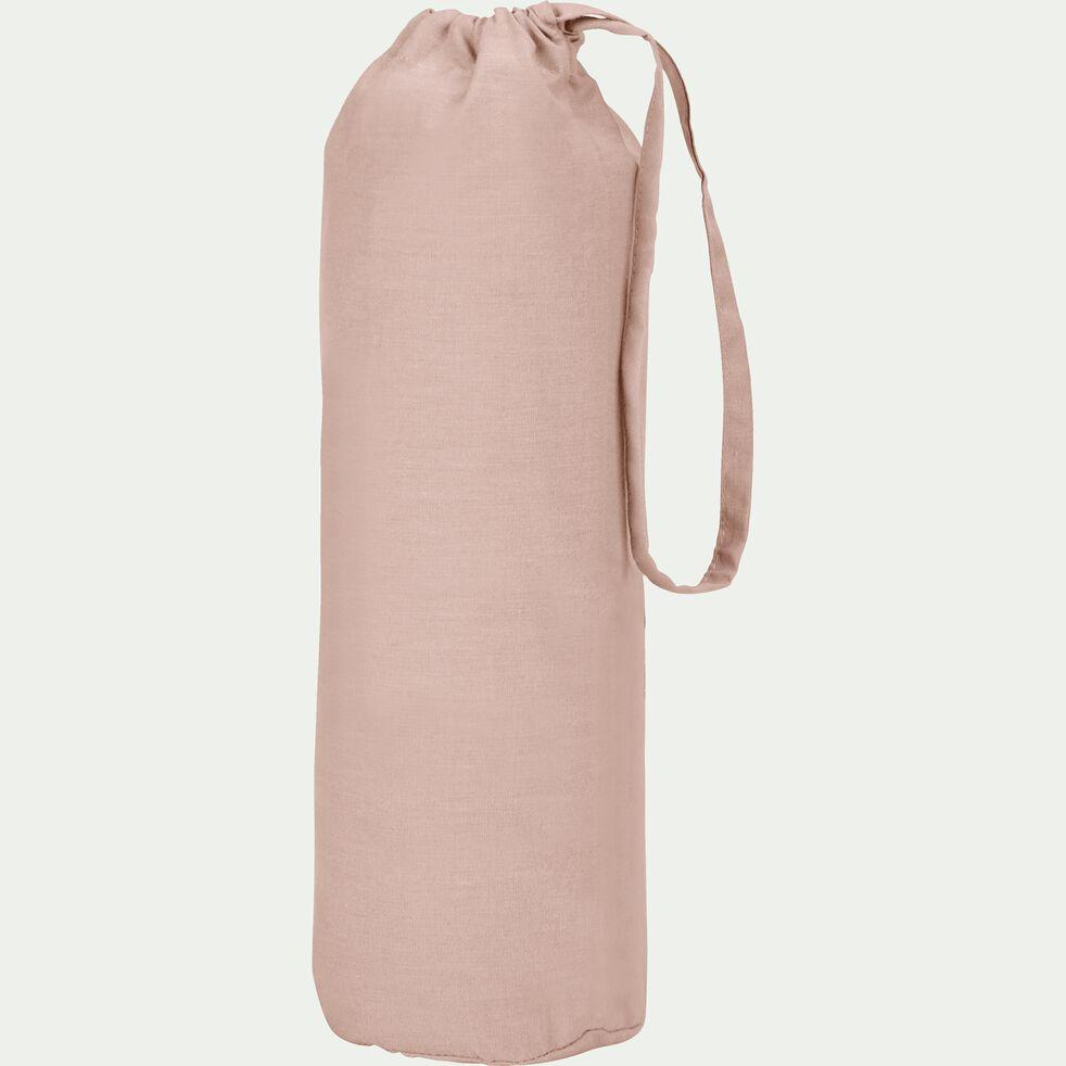 Drap housse en percale de coton - rose argile 160x200cm B25cm-FLORE