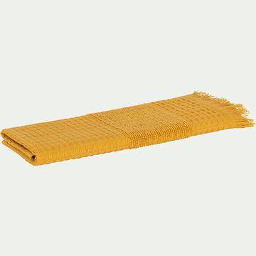 Serviette invité bouclette et nid d'abeille en coton - jaune 30x50cm-TOMAR