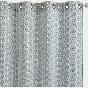 rideau en coton blanc et vert motif feuilles de vigne 140x250cm-VIGNE