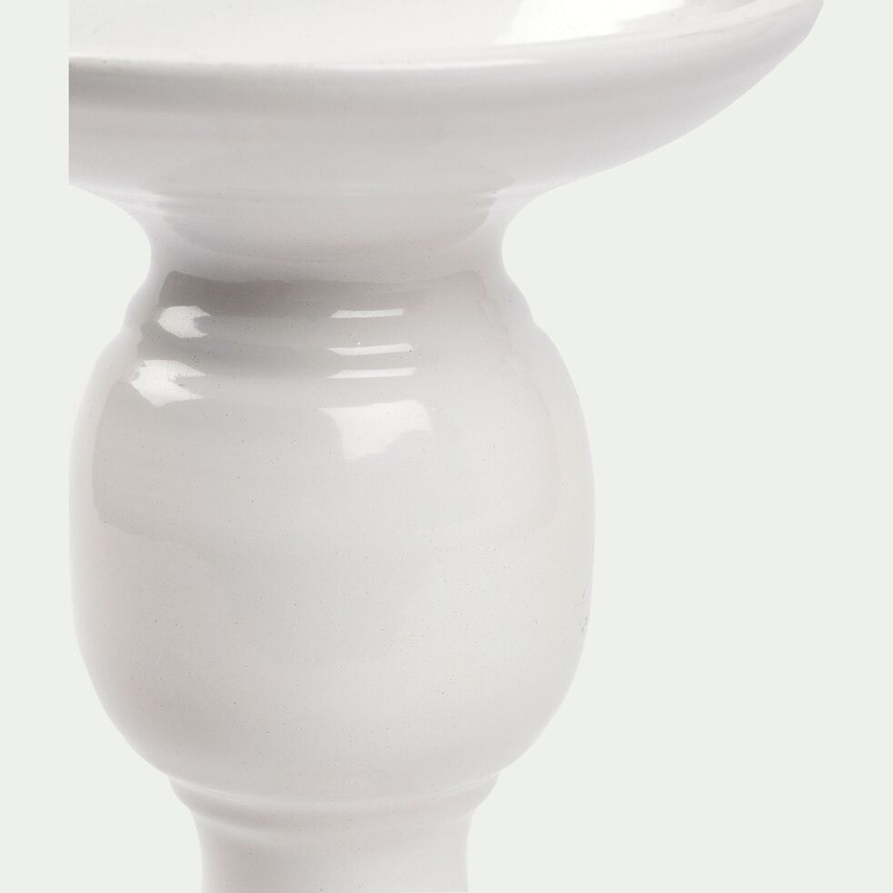 Bougeoir en métal - blanc H22cm-SIXTINE