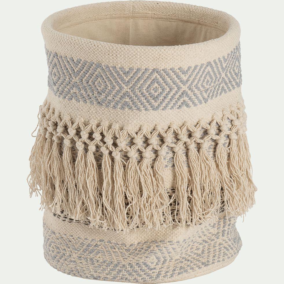 Panier déco en coton - blanc D30xH30cm-MAE