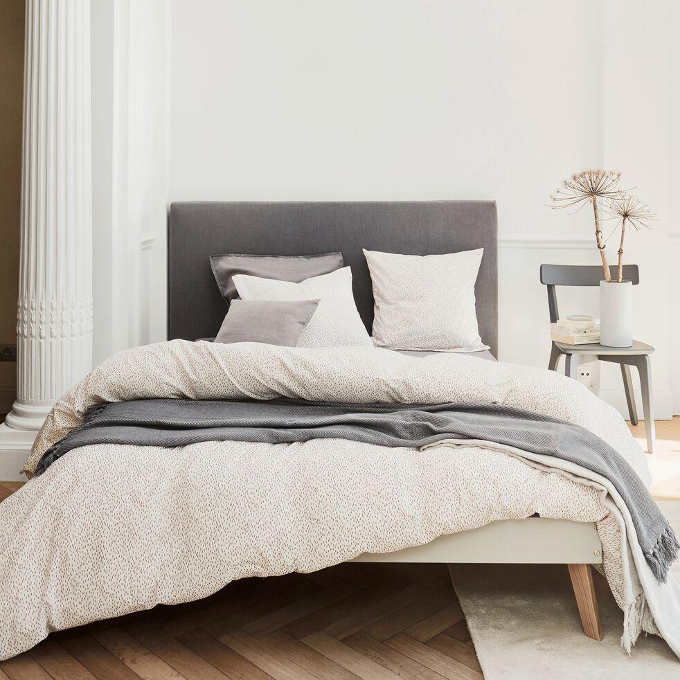 Housse de couette et 2 taies d'oreiller en coton peigné - blanc 240x220cm-MINI