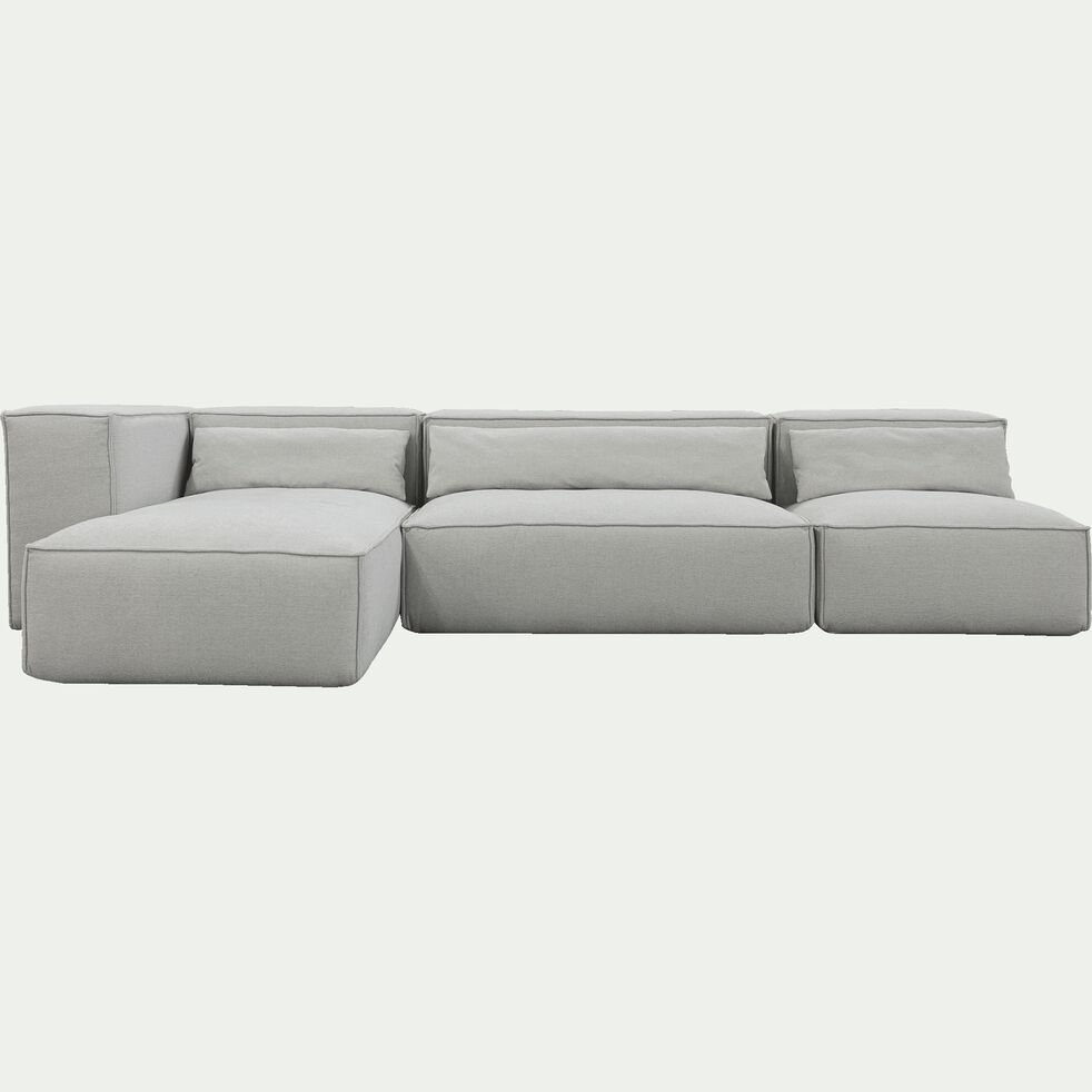 Canapé d'angle 5 places reversible en tissu - beige roucas L321cm largeur 245cm-REVERE