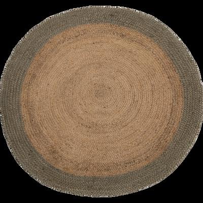 Tapis en jute rond 120 cm vert olivier-ANTALYA