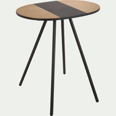 Bout de canapé ovale en acier noir et doré-IVE